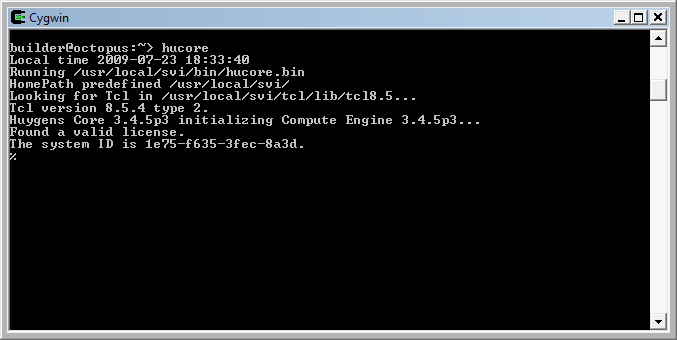 Huygens Core command prompt (click to open larger view).