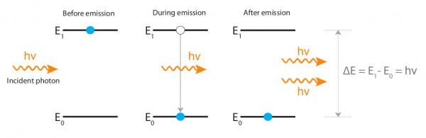Figure 1. Diagram illustrating the process of stimulated emission from left to right. An atom in an excited state is stimulated to emit a photon by an incident photon. The stimulated emitted photon has the same phase, frequency and polarization as the incident photon. For simplification, non-radiative processes and vibrational energy states are not shown in this figure.